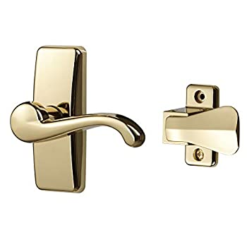 Ideal Security Inc SKGLWBB GL Lever Set for Storm and Screen Doors 2-Piece Brass Finish