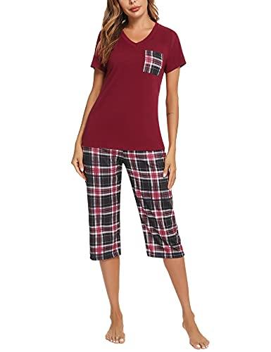 iClosam Pijama Cuadros Mujer Verano Pijamas Cortos Algodon Ropa de Dormir Casa Casual Suave y Comodo (XL,Vino Tinto)