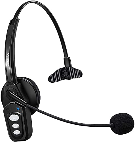 Bluetooth Headset V5.0 with Noise Cancelling Mic 16Hrs Talktime Wireless Phone Headset for Truck Driver Home Office