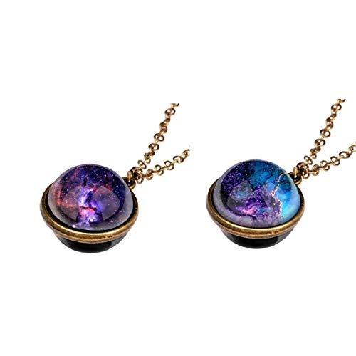 Holibanna Colar com pingente de galáxia do universo 2 peças, retrô, decorativo, com pingente de céu estrelado, joia com espaço exterior para mulheres e homens