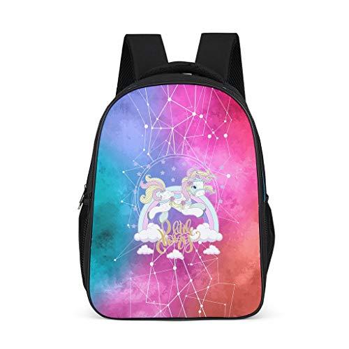 Toomjie Kleuterschool Elementaire Roze Eenhoorn Gekleurde Galaxies afdrukken Rugzak Casual Outdoor Reistas College Tas voor Jongens en Meisjes met Duurzaam Ontwerp en Veilige Opslag