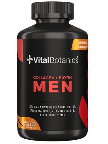 VitalBotanics Colageno Hidrolizado + Biotina for MEN con 200 capsulas [6 meses]. Suplemento Multivitamínico para Hombre con Colageno, Biotina, Vitamina E, Magnesio, Zinc, Vitamina D, B5 para Cabello, Piel y Uñas. Hydrolyzed Collagen.