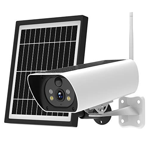 Outdoor Security Camera, Solar Powered Wireless Security Cameras, 1080P HD WiFi Security Camera with Solar Panel, Night Vision, Two-Way Audio, PIR Motion Detection, SD/Cloud Storage, IP65 Waterproof