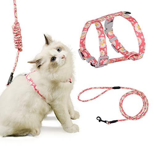 PETTOM Arnes Gato Ajustable Antiescape con Correa Cuerda Redonda Cómodo Seguridad para Pequeño Grande Gato Cachorros para Caminar Viajes (Rosado M)