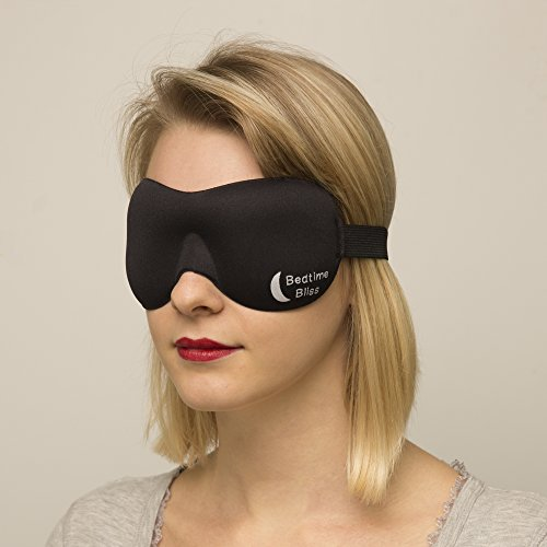 Sleep Mask by Bedtime Bliss - Contoured & Comfortable With Moldex Ear Plug Set. Includes Carry Pouch for Eye Mask and Ear Plugs - Great for Travel, Shift Work & Meditation (Black)