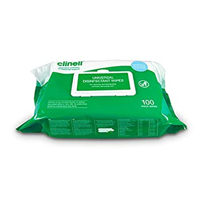 Clinell - Universal Cleaning and Surface Disinfection Wipes - Multi Purpose Wipes, Kills 99.99% of Germs, Effective in 10 Seconds - Pack of 100 Wipes from GAMA Healthcare