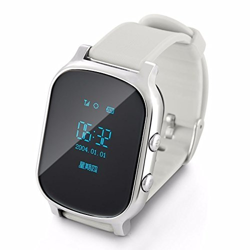 ERAY 2016 GPS Tracker Watch for Kids Elderly GPS Bracelet Google Map SOS Button GPS Bracelet Personal Tracker GSM GSP Locator T58 Watch for iOS Android-Silver