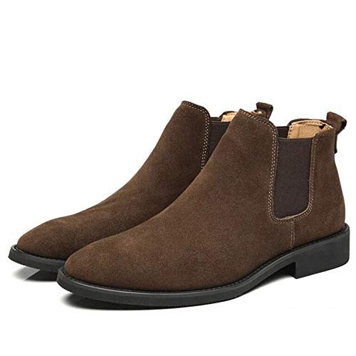 French House Dark Brown Faux Vegan Suede Leather Casual Comfortable Stylish Slip-on Chelsea Boot Shoes for Men