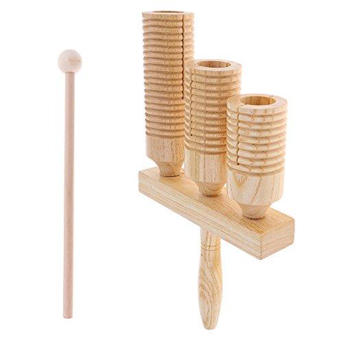 Sharplace Doppelte Agogo Bell aus Holz 3-Ton-Klocke 3 Tone Bells Kinder Musik Entwicklung Spielzeug