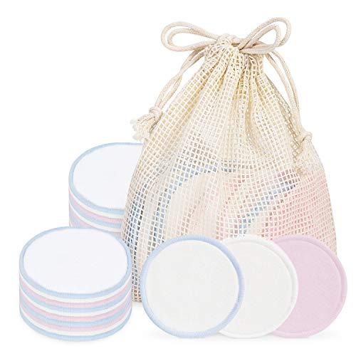 ISENPENK Tampons Démaquillants en Bambou, 18 Pièces Tampons Démaquillants en Coton Bio Réutilisables pour le Nettoyage du Visage, Tampons de Maquillage doux Lavables avec sac D'emballage Gratuit