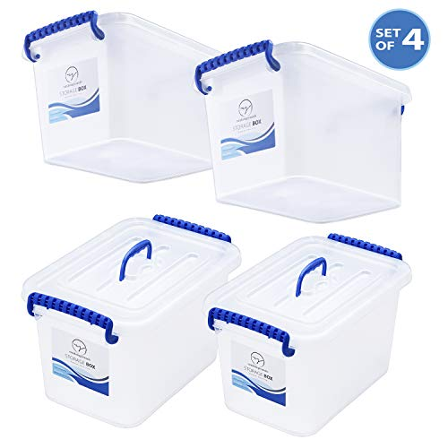 7 Quart Plastic Storage Bins with Lids and Top Handle - Durable, Stackable Organizer Latching Box Tote Space-Saver Containers - Compact Size for Small Items and Things - Semi-Clear White, Set of 4