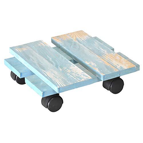 WAGNER Chariot de Plantes LOFT Shabby Chic 28 x 28 x 8 cm   pour intérieur   Style rétro en Bois Massif ondulé, certifié FSC®, Brut de sciage, Bleue   Capacité de Charge 100 kg - 20085701