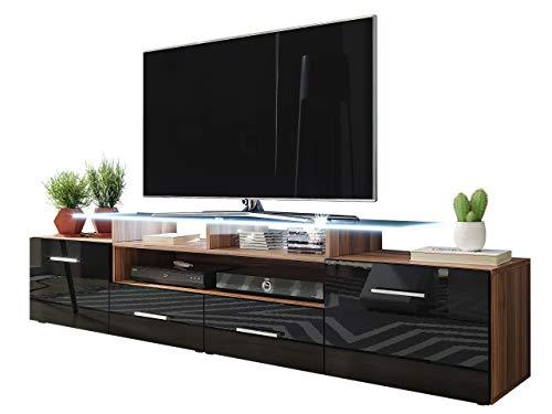 Mirjan24 TV Schrank Agnes, TV Lowboard mit 2 Türen und 2 Schubladen, fronten in Hochglanz, TV-Bank Fernsehschrank, Sideboard Tisch Mediaboard (Pflaume/schwarz Hochglanz, mit weißer LED Beleuchtung)