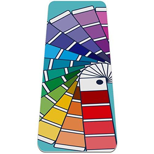 Alfombra de yoga de color Swatches para mujeres y niñas, antideslizante, para yoga y pilates, ejercicios de suelo, (72 x 24 pulgadas, 0,6 cm de grosor)