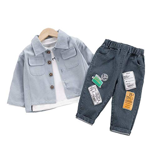 Geagodelia Completini Neonati Camicia + T-Shirt + Jeans 3Pcs Bimbo Maniche Lunghe Casual Autunnale e Invernale Tute Bambini 0-4 Anni (Blu, 2-3 Anni)