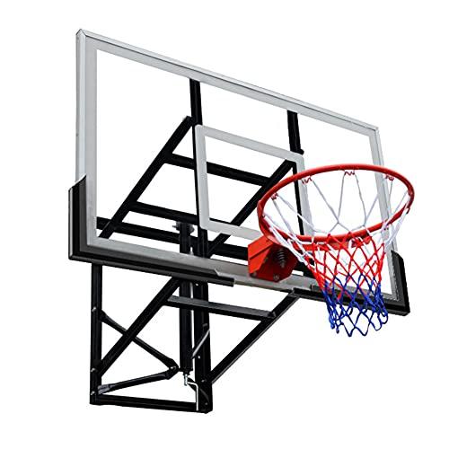 LANGWEI Basketballkorb Zur Wandmontage, Höhenverstellbare Basketballkörbe Und Tore Zur Wandmontage Mit Rückwänden Aus Gehärtetem Glas Und Netz Für Den Außeneinsatz Im Innenbereich