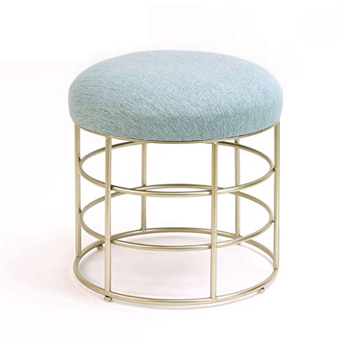 HAIYING Repose-Pieds/Fashion Iron Makeup Tabouret/Style Nordique Modern Simple Stool Chair Tabouret Outdoor Base Ronde Ottoman/Chair/Outdoor Stool (Couleur: Bleu)