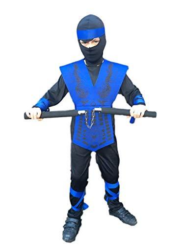 Rubber Johnnies, disfraz de NINJA azul neón, japonés, GI Joe, niños, disfraz de asesino y trajes para niños, Halloween y fiestas de cumpleaños