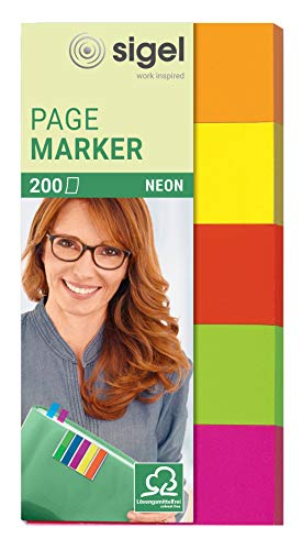 SIGEL HN650 Haftmarker Neon aus Papier, 5 Farben, 200 Streifen im Format 20 x 50 mm