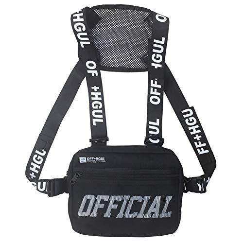 EFINNY Chest Rig Riñonera Hombre Mujer Hip-Hop Style Pack Funcional Chest Bag Cross Hombro Cruzado Chaleco táctico Ajustable Streetwear Bolsas Riñonera Radio Arnés Chest Rig Bag