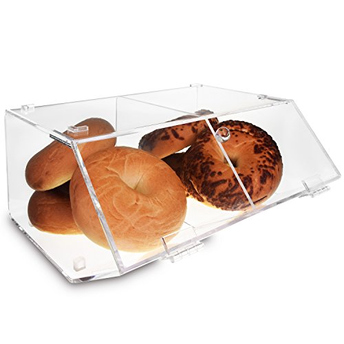 Ikee Design Acrylic Stackable Bakery Display Case Home Organizer Acrylic Storage Holder Stand for Bagels, Bread and Muffins with A Hinged, Slanted Door with 2 Compartments, 11 7/8' W x 11' D x 6' H