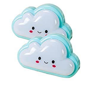 discoGoods Pack of 2 Childrens Bedroom Cute Cloud Face Portable LED Night Lights Plug-in Wall Baby Light Nursery Lamp