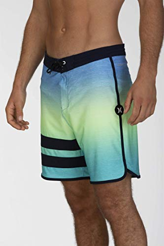 Hurley Herren Badehose M Phantom Block Party Keep Cool 18', Pacific Blue, 32, CJ5050