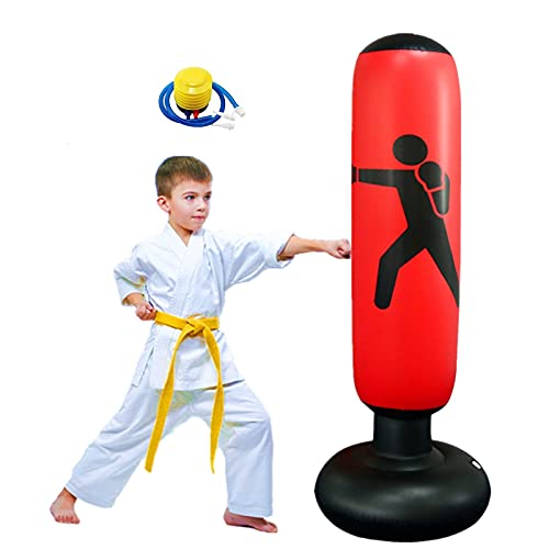 "FOYOCER Saco de Boxeo Hinchable de Niños Saco de Arena Inflable de Pie para Practicar Karate MMA Bolsa de Boxeo Fitness para Nniños 61"""
