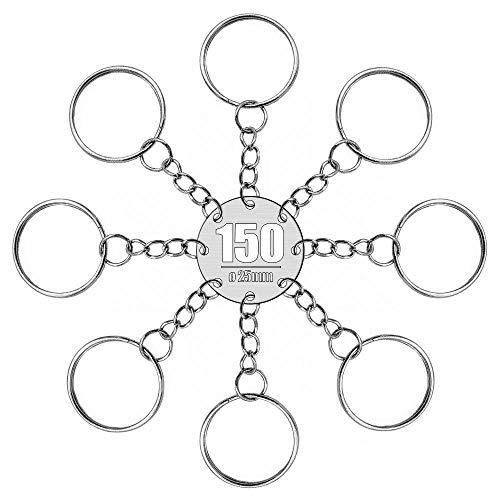 RUBY - 150 Anillas para llavero con cadena, bases de