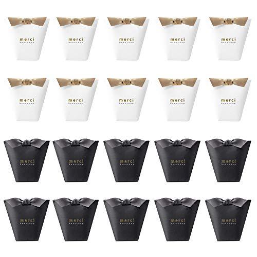 LxwSin Caja de regalo boda, Cajas de papel para dulces, 20 Pcs cajas de regalo de papel kraft, Cajas de regalo de papel pequeñas creativas, Bolsas de regalo para fiestas con cinta (blanco, negro)