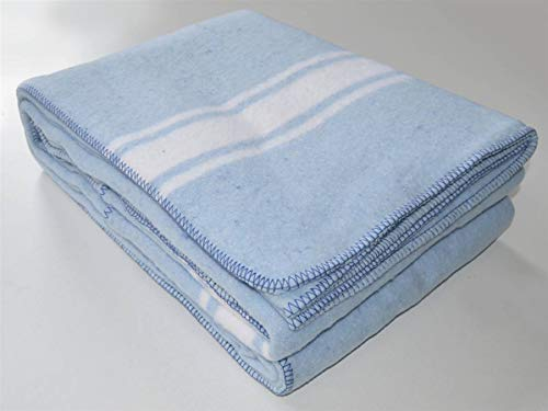 Lanovenanube - Manta Mallorquina Algodón 220x240 - Azul/Raya Blanca