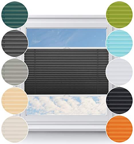 Rollo Studio Pliseerollos auf Maß ohne Bohren, Rollos für Fenster, Plissee mit Klemmfix, Jalousien Verdunklung, Viele Größen und Farben, Klemmrollos, Sonnenschutz, Sichtschutz Plisees, Graphit