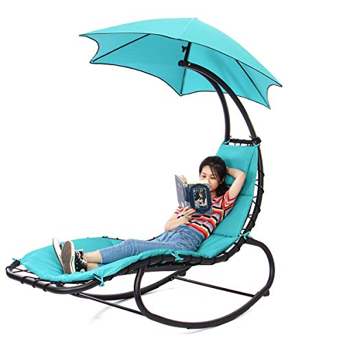 eZone Outdoor Hammock Chair Lounge Swing, Curved Chaise Lounge Chair Swing for Backyard, Patio and More