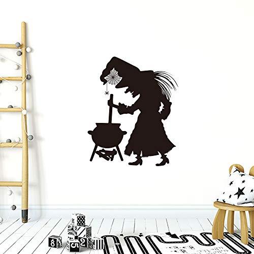 QQCYWZK Bruja de Halloween Pegatina de Pared Personalidad Decoración del hogar Pegatinas de Pared Sala de Estar Dormitorio DEC 57x42cm