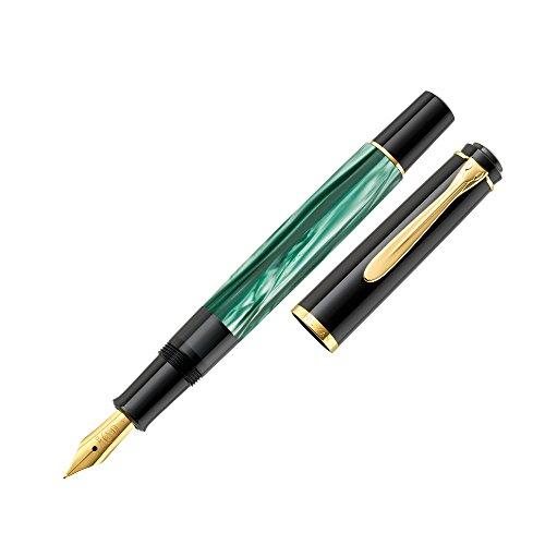 Pelikan 984187 - Penna Stilografica Linea M200 Classic, Verde Marmorizzato/Nero, Dettagli Oro 24K, Pennino in Acciaio Inossidabile, Dimensione F