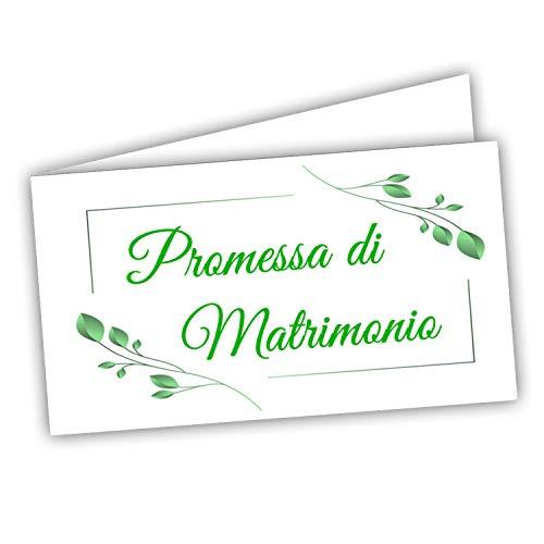 Bigliettini Bomboniera Promessa di matrimonio - fazzoletti confetti Promessa sposi,60 pezzi pretagliati - stampa l'interno con link e il foglio di prova per non sbagliare