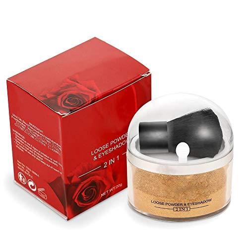 Loose Powder, kit de Maquillaje Profesional Polvos Sueltos y Sombra de Ojos Base Correctora Cosmético Facial para Cubrir las Pecas, Ocultar Las Espinillas y Mejorar el Tono de la Piel(Polvo de oro MA)