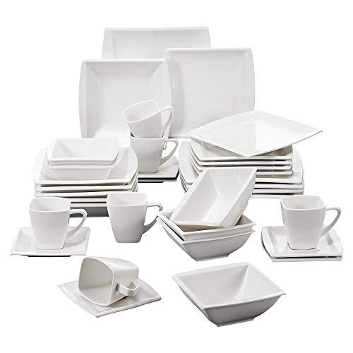 MALACASA, Serie Blance, 36 TLG. CremeWeiß Porzellan Kombiservice Tafelservice Kaffeeservice mit MüsliSchälen für 6 Personen