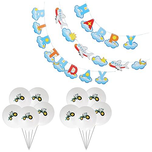 BESPORTBLE Juego de Decoraciones para Fiestas de Cumpleaños para Niños Incluye Pancarta de Cumpleaños Feliz para Aviones Guirnalda de de Látex para Niños Cumpleaños Baby Shower