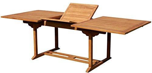 ASS Teak XXL Ausziehtisch Holztisch Gartentisch Garten Tisch L: 180/240cm B: 100cm Gartenmöbel Holz sehr robust Modell: JAV-TOBAGO240 NEU: MIT SCHIRMLOCH von