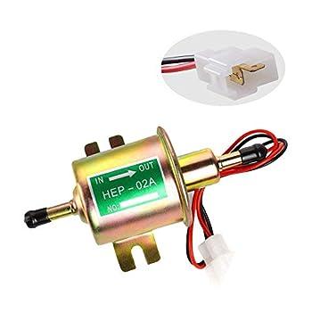 Electric Fuel Pump Inline Fuel Transfer Pump 12v Universal Low Pressure Gas Diesel Fuel Pump for Carburetor 2.5-4psi HEP-02A