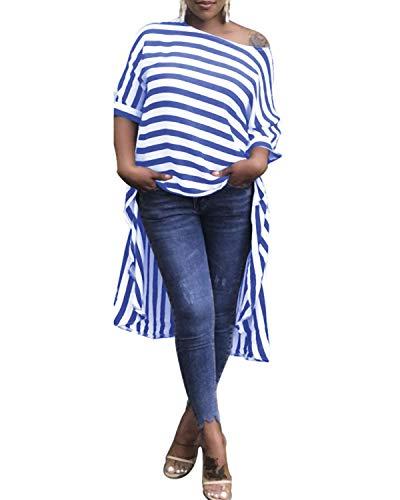 ZANZEA Damen Schulterfrei Kurzarm T-Shirt Asymmetrisch Longblusen Streifen Oversize Tops Blau Small