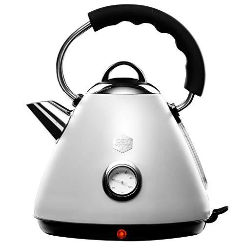 OBH Nordica - Bouilloire LEGACY électrique - Design vintage rétro et élégant - capacité 1,7 L avec indicateur de température et niveau d'eau - 2200W - blanc & inox