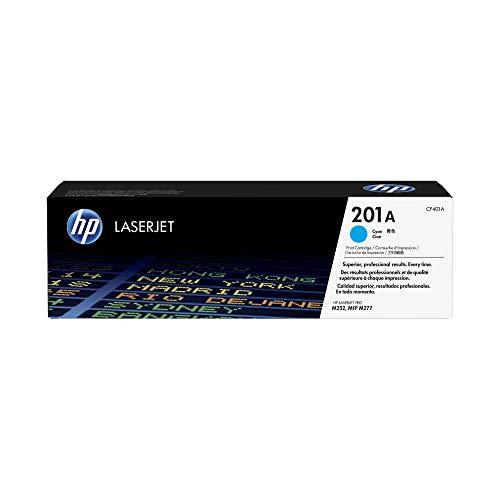 HP 201A CF401A, Cian, Cartucho Tóner Original, de 1.330 páginas, para impresoras HP Color LaserJet Pro serie 252, 274 y 277