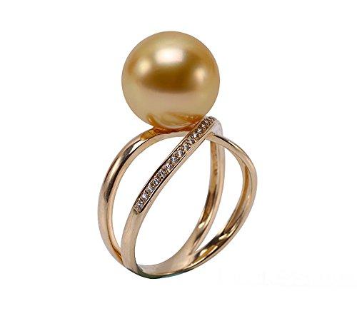 Oro 14K Jyx cesto 11mm Golden Round South Sea Pearl anello