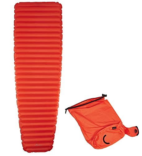 Frilufts ELPHIN AIR AS - Isomatte mit Pumpsack Mandarin red R-Wert 3.5 bis - 10 Grad