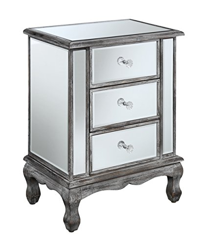 Convenience Concepts Gold Coast Vineyard 3 Drawer Mirrored End Table, Weathered Gray / Mirror