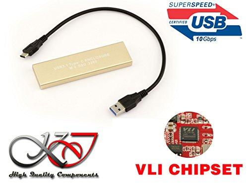 Preisvergleich Produktbild KALEA-INFORMATIQUE Gehäuse M2 auf usb3.1 (Bandbreite 10 Gbps) Für SSD m.2 NGFF im Format 2280 und-Typ SATA B Key (oder B + M Key) Chipsatz VIA VLI VL716