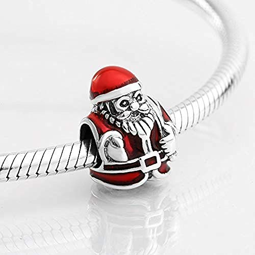 Women's Bead Charms,925 Sterling Silver Kindly Santa Claus Red Enamel Beads Fit Original Charm Bracelet Jewelry Making