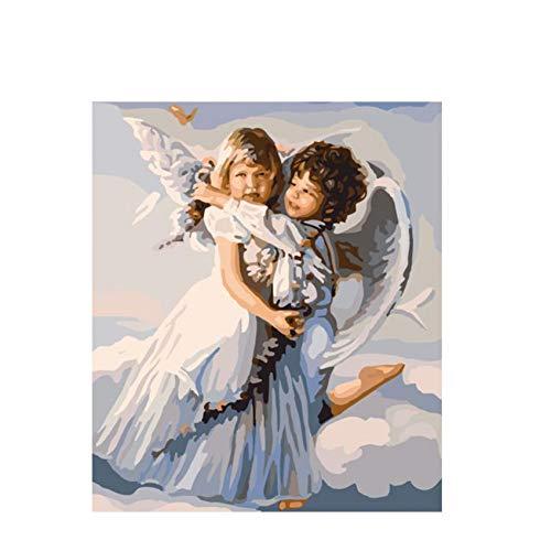 GKJRKGVF Engel Knuffelen Diy Schilderen Door Getallen Abstract Jongen Meisje Olie Schilderen Op Canvas Wing Acryl Muur Kunst